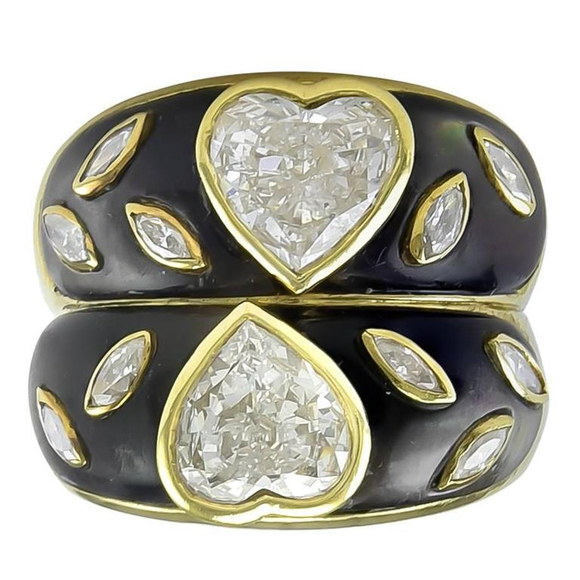 Romantic Double Heart Diamond Ring - Gem de la Gem