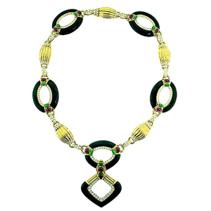 Dazzling Onyx Diamond Necklace - Gem de la Gem