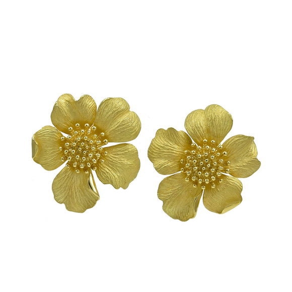Tiffany & Co. Classic Huge Gold Wild Rose Ear Clips - Gem de la Gem