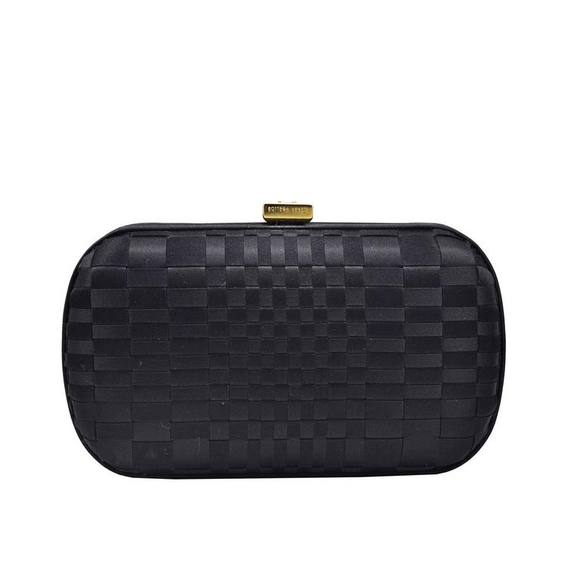 Chic Classic Bottega Veneta Black Satin Knot Clutch - Gem de la Gem