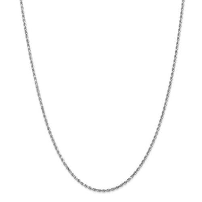 14k White Gold Rope Diamond Chain 2.00mm