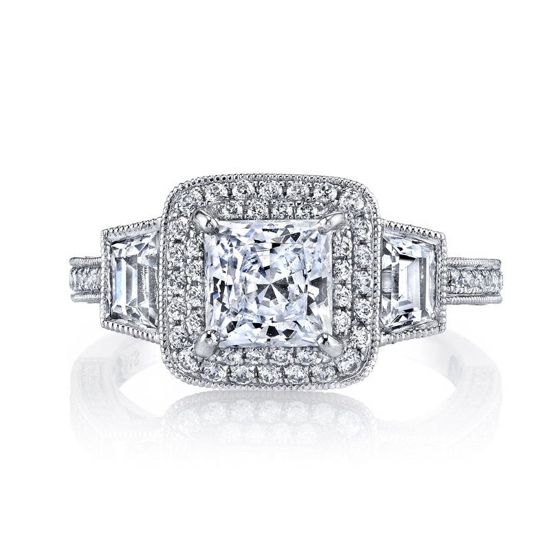 Diamond Engagement Ring 0.76 ct rd 0.51 ct Trapezoids