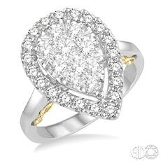 1 1/2 Ctw Pear Shape Lovebright Round Diamond Ring in 14K White and Yellow Gold