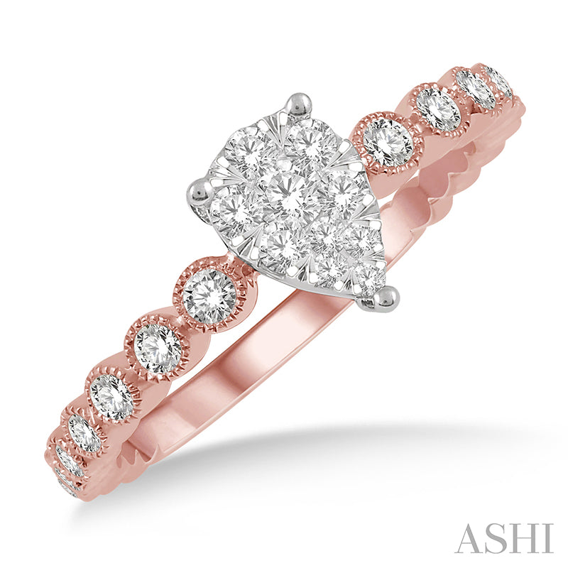 Pear Shape Cutwork Shank Lovebright Diamond Ring in 14K Rose and White Gold