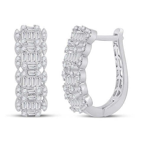 14 KARAT WHITE GOLD DIAMOND BAGUETTE FASHION HOOPS
