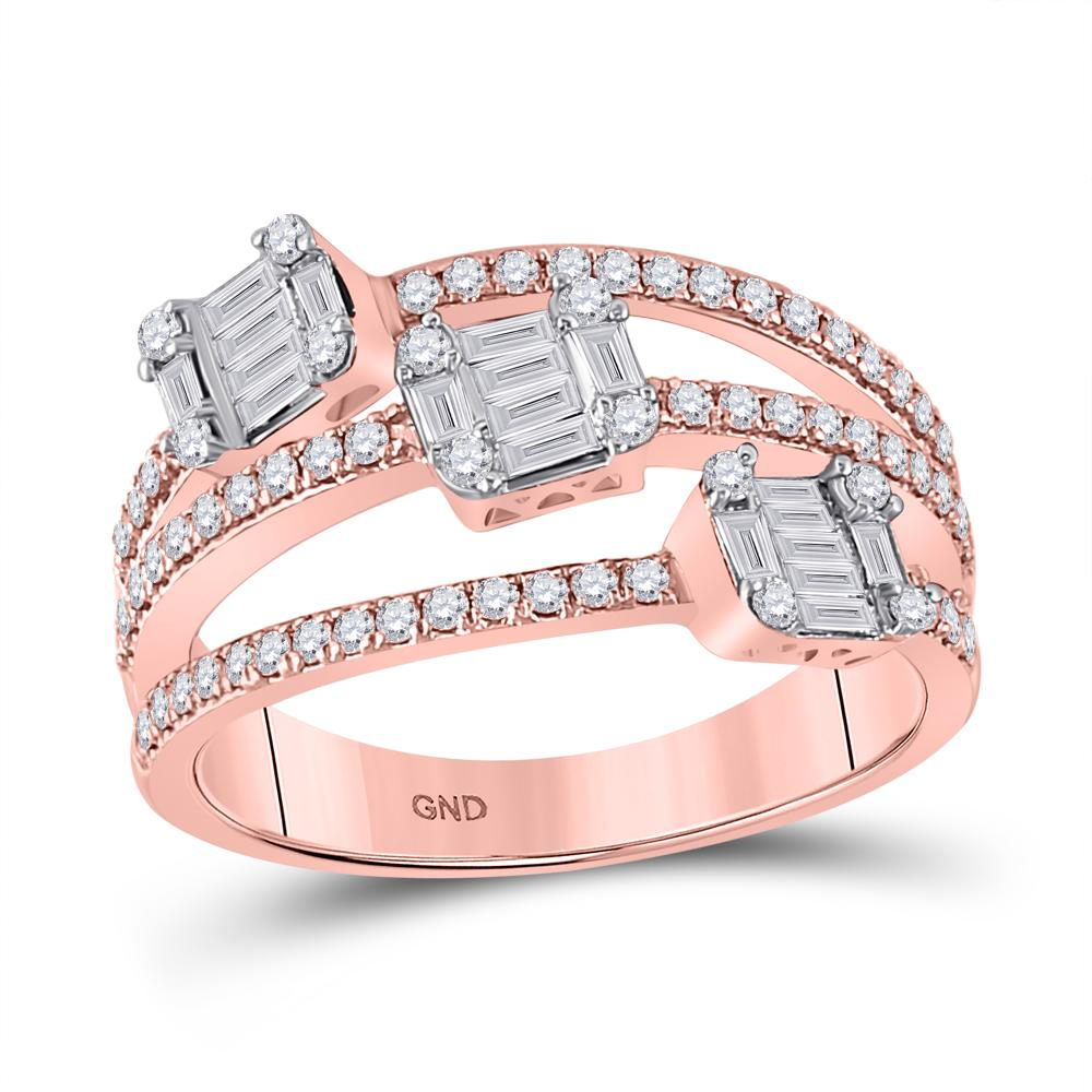 14 KARAT ROSE GOLD FASHION BAGUETTE DIAMOND BAND