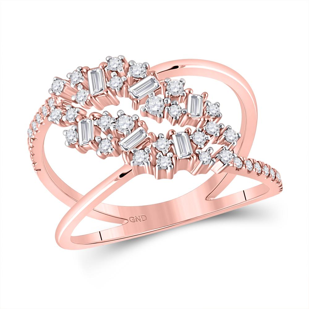 14 KARAT ROSE GOLD DIAMOND BAGUETTE FASHION RING