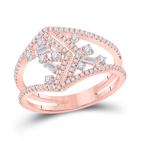 14KT ROSE GOLD DIAMOND BAGUETTE FASHION RING