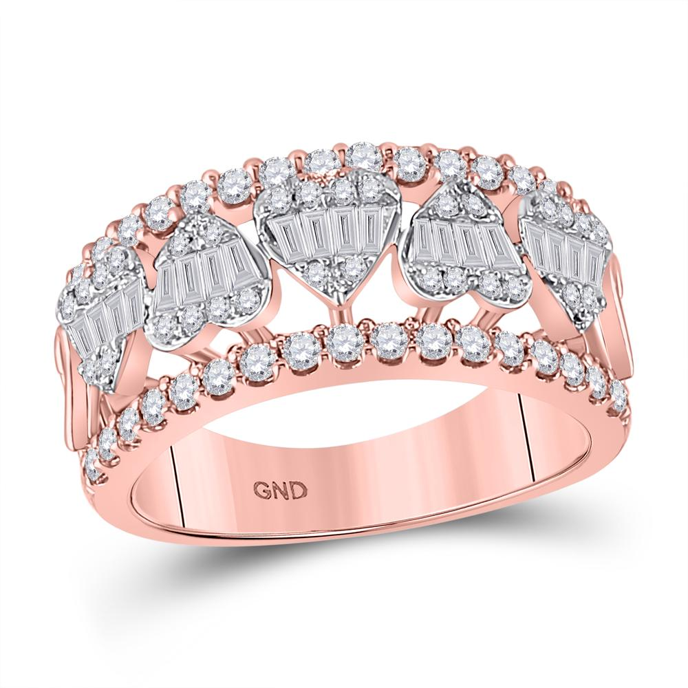 14 KARAT ROSE GOLD DIAMOND HEART BAGUETTE BAND 1.00CTW