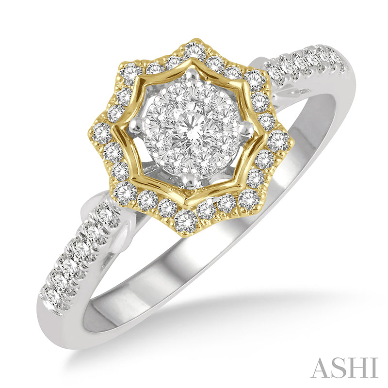 1/2 ctw Star Shape Lovebright Round Cut Diamond Ring in 14K White and Yellow Gold