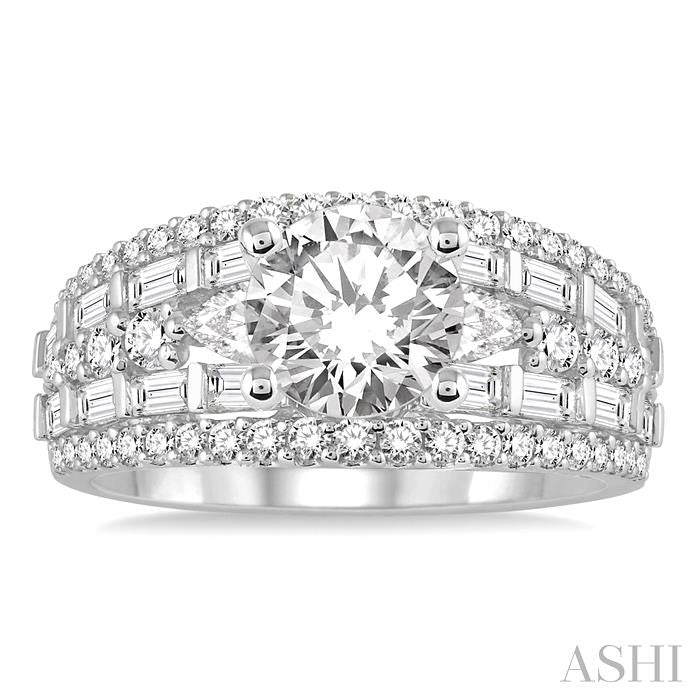 Baguette Round Diamond Engagement Ring 3.30ctw
