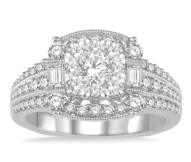 1 3/8 Ctw Diamond Lovebright Vintage Inspired Engagement Ring