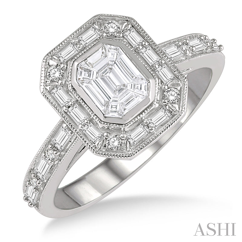 Fusion Emerald Cut, Baguette & Round Cut Diamond Ring 1 Carat