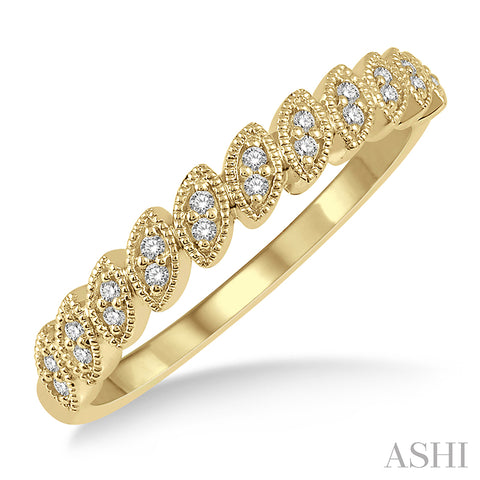 Leaf Motif Round Cut Diamond Stackable Band