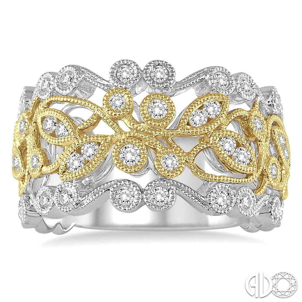 1/2 Ctw Round Cut Diamond Fashion Ring in 14K White and Yellow Gold