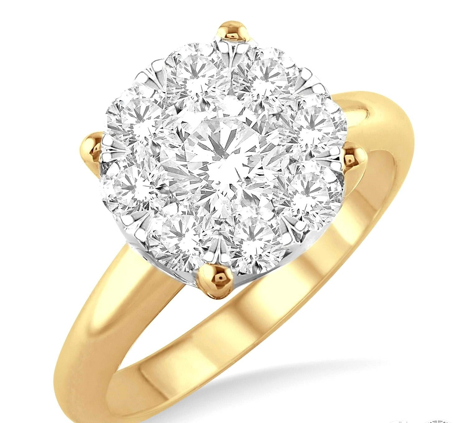 2 Ctw Lovebright Round Cut Diamond Ring in 14K Yellow and White Gold