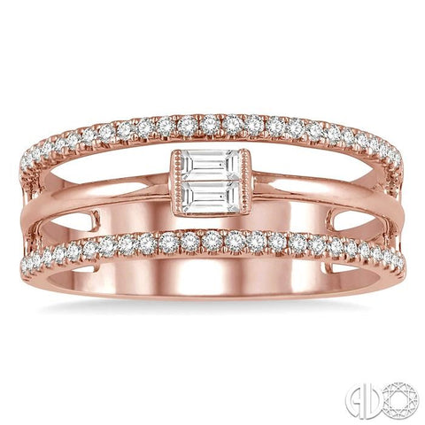 1/3 ctw Open Tri Band Baguette & Round Cut Diamond Fashion Ring in 14K Pink Gold