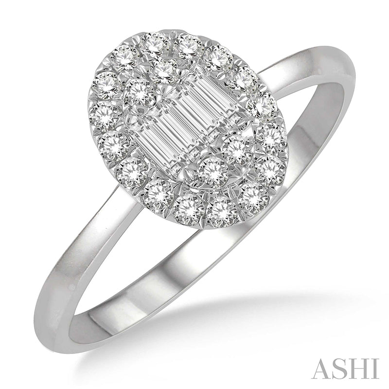 Oval Shape Baguette Diamond Ring