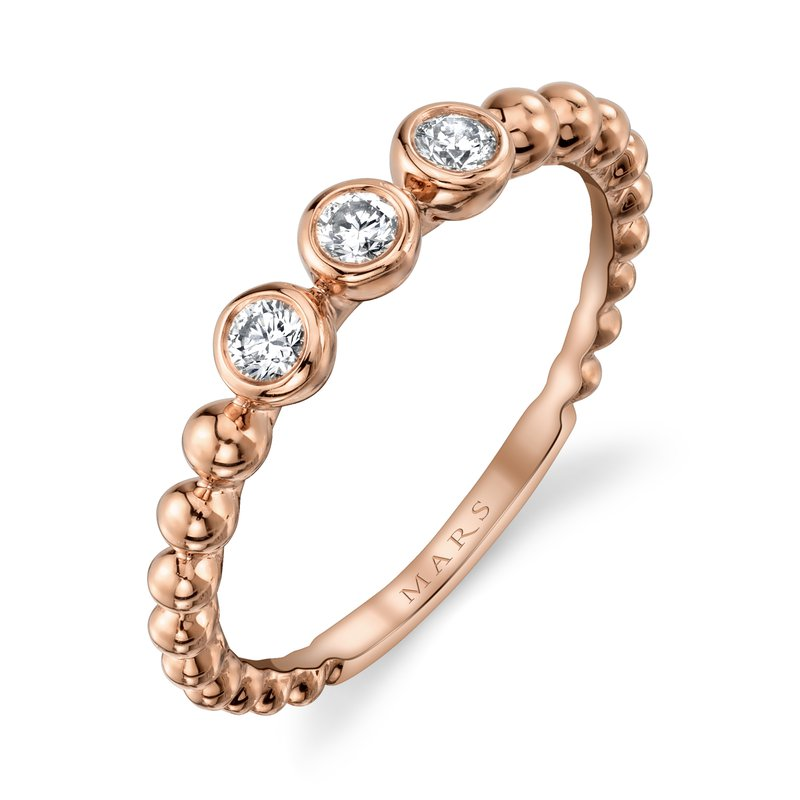 14k Rose Gold Diamond Stackable MARS Designer