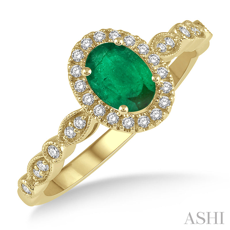 Oval Shape Emerald & Diamond Ring