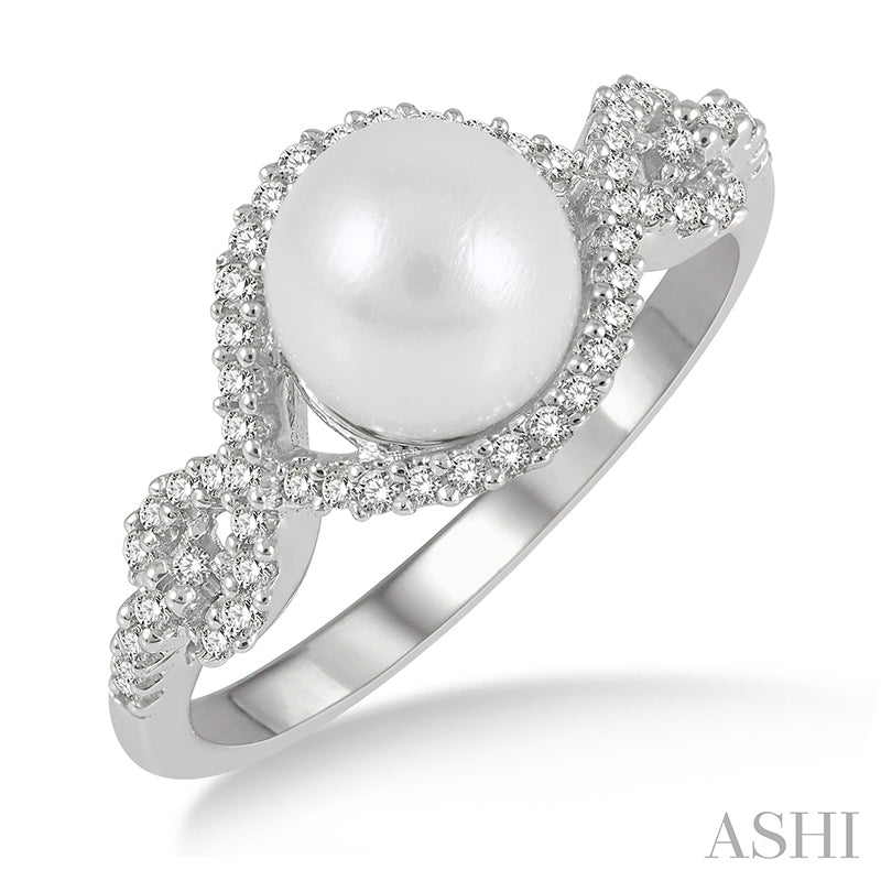 Infinity Pearl and Round Cut Diamond Ring