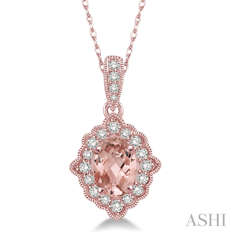 Diamond  Oval Cut Morganite Semi Precious Pendant