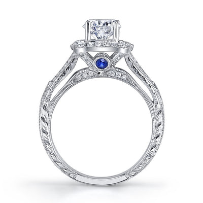 Diamond Sapphire Engagement Ring Vintage Inspired 1.60ctw