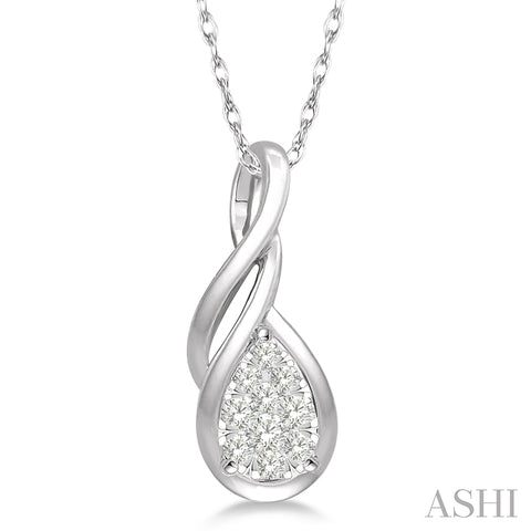 Pear Shape Lovebright Entwined Wire Round Cut Diamond Pendant