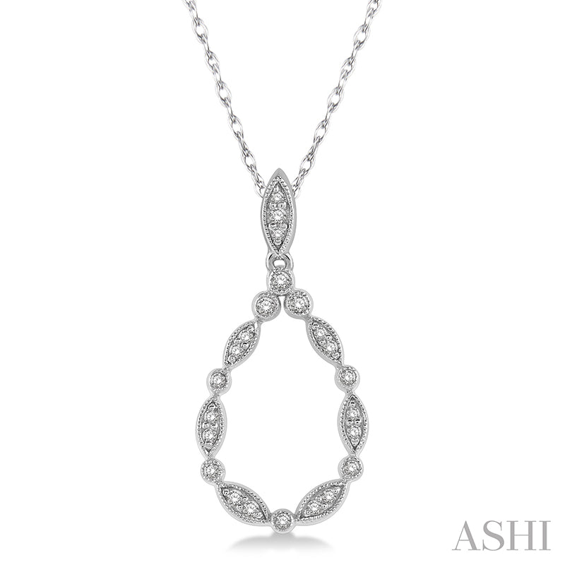 Marquise Cutwork Drop Round Cut Diamond Pendant