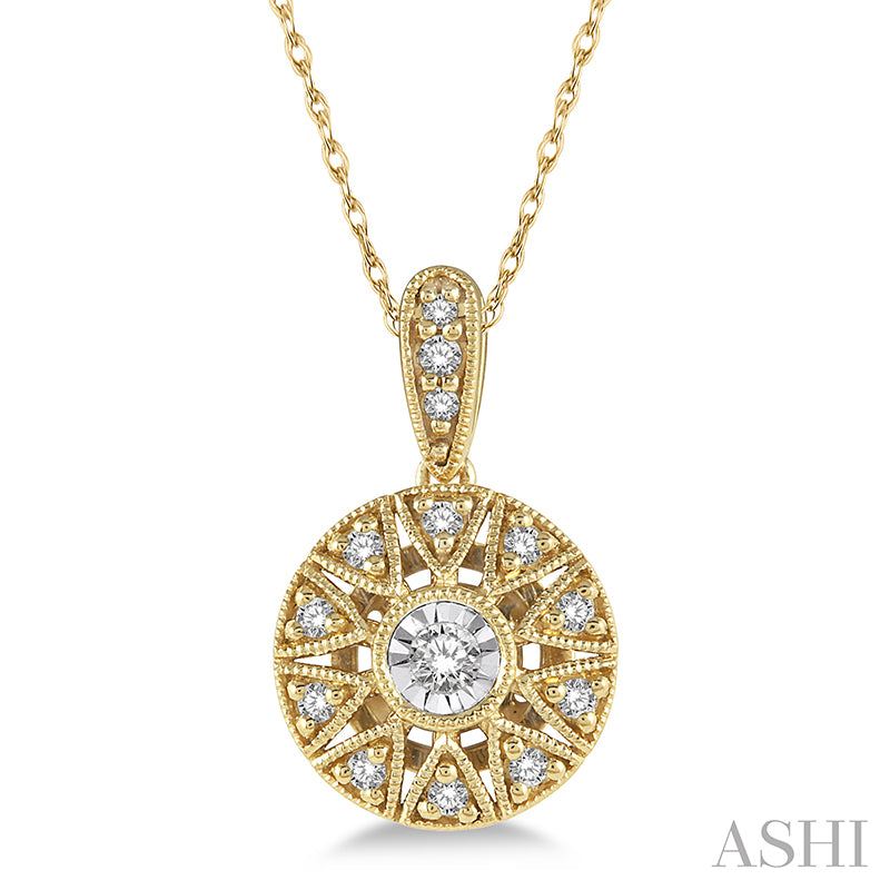 Cutwork Medallion Round Cut Diamond Pendant