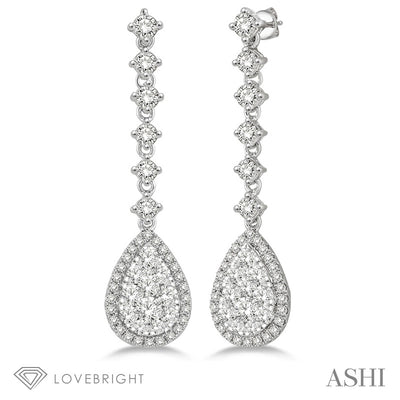 1 Ctw Pear Shape Dangler Round Cut Diamond Lovebright Earrings in 14K Yellow and White Gold