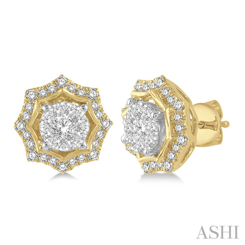 Star Cutwork Lovebright Round Cut Diamond Stud Earrings