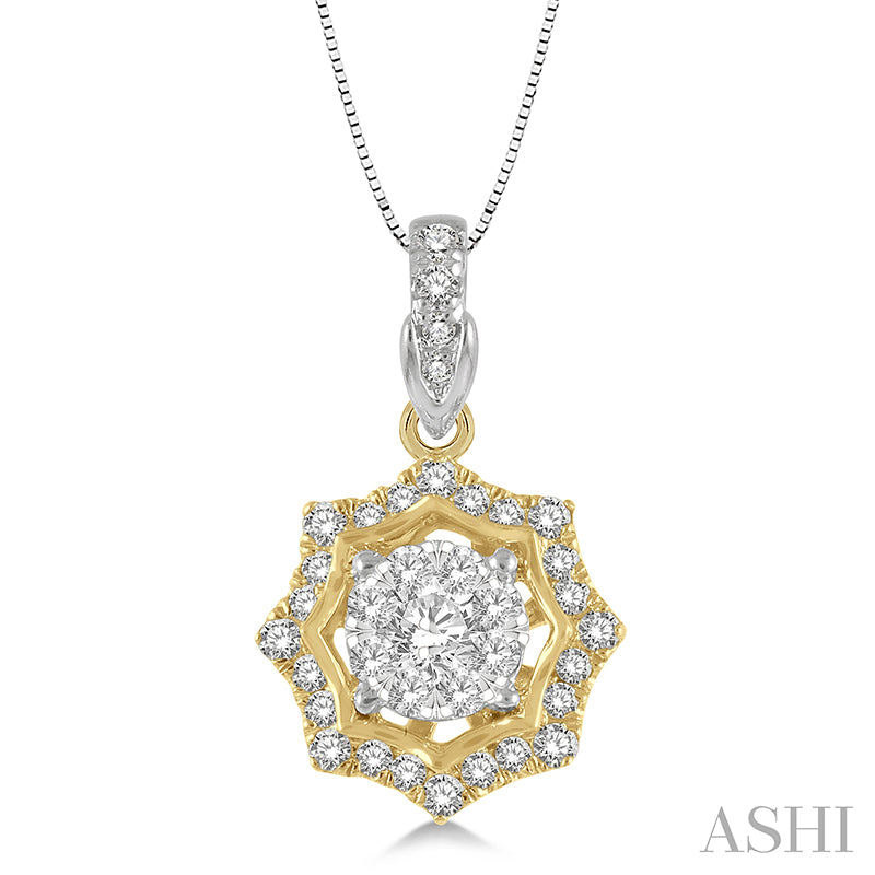 Star Cutwork Lovebright Round Cut Diamond Pendant