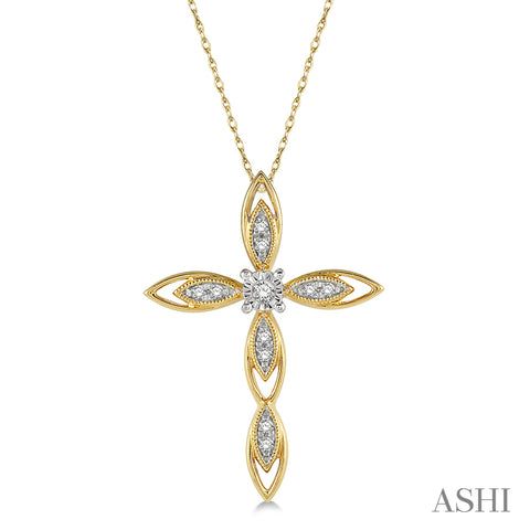 1/10 ctw Extended Frame Marquise Cross Charm Round Cut Diamond Pendant With Chain in 10K Yellow Gold
