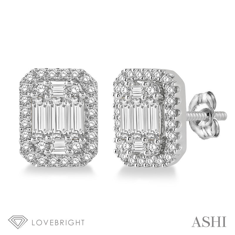 5/8 Ctw Octagonal Baguette & Round Cut Diamond Stud Earrings in 14K White Gold