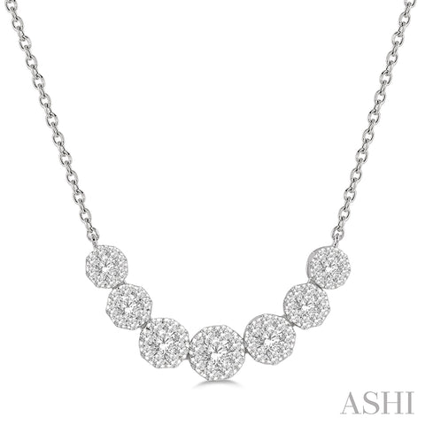Round Cut Diamond Lovebright Necklace in 14K White Gold
