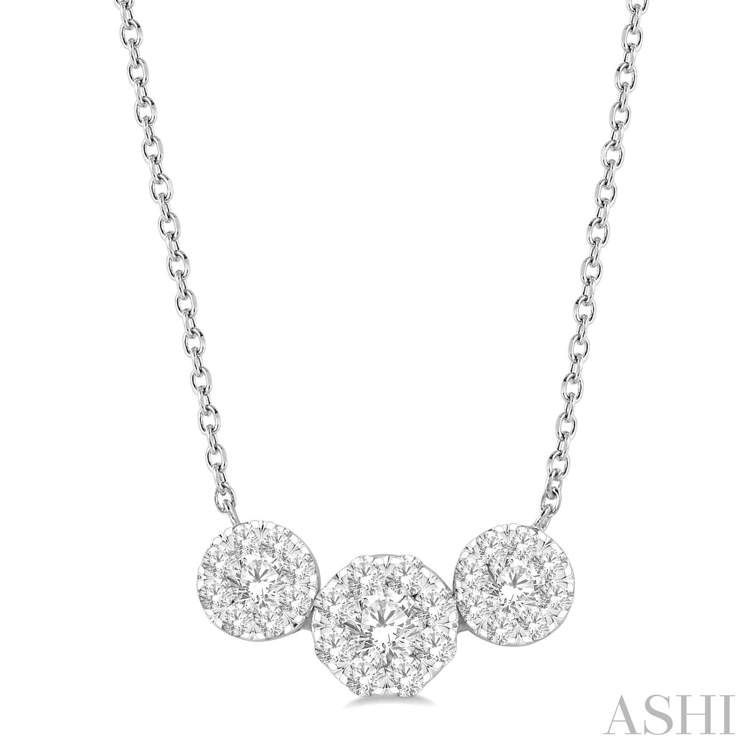 3/4 Ctw Triple Circle Lovebright Round Cut Diamond Necklace