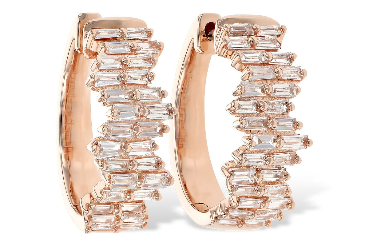 14KT Rose Gold Diamond Baguette Hoops