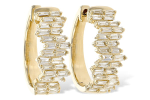 14KT Yellow Gold Diamond Baguette Hoops