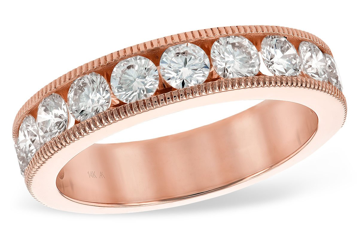 14KT Rose Gold Ladies Wedding Band Allison Kaufman 1.50CTW