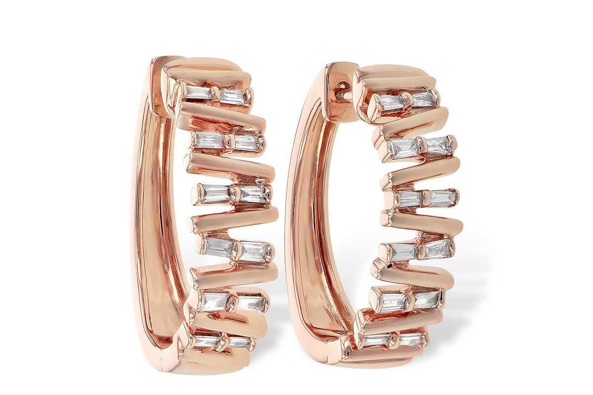 14KT Rose Gold Allison Kaufman Diamond Hoops