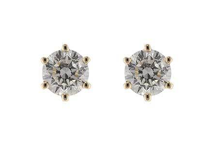 14kt Yellow Gold Diamond Studs 6 Prong Setting