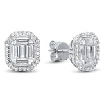 14K White Gold Baguette Halo Diamond Earrings 3/4 ct