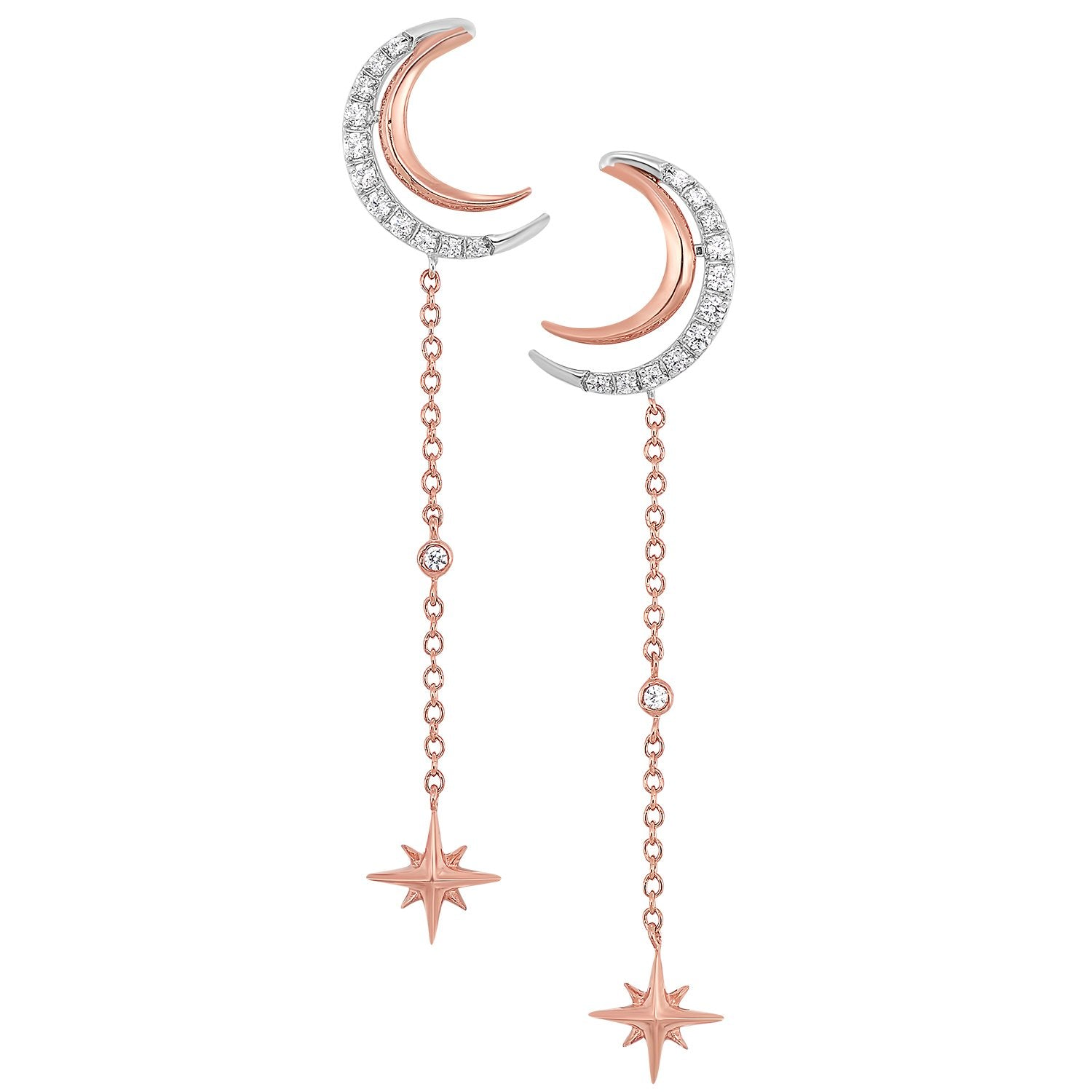 14K Diamond Moon Earrings 1/7ctw