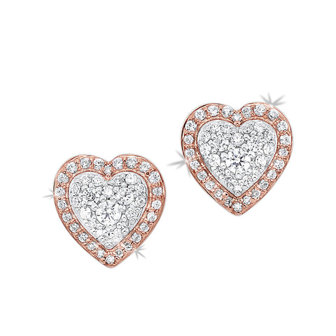 14K TWO TONE DIAMOND HEART EARRINGS 1/4CTW