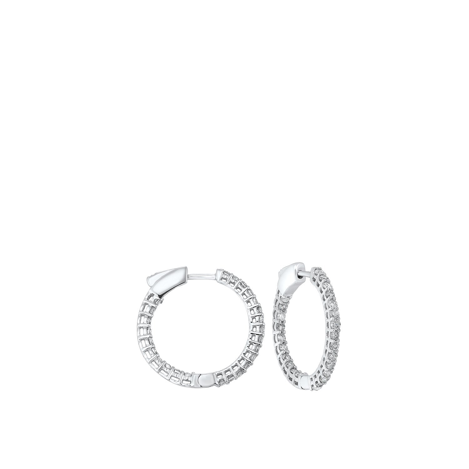 14K Round In-Out Earring 1ctw