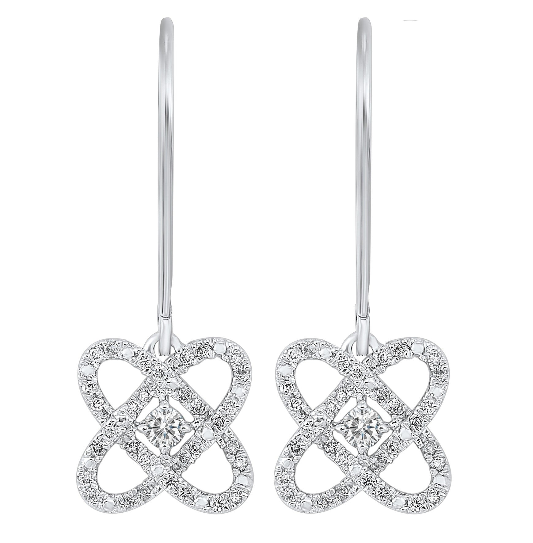 Ladies Sterling Silver 1/4 ctw Diamond Earrings LOVE'S CROSSING Collection