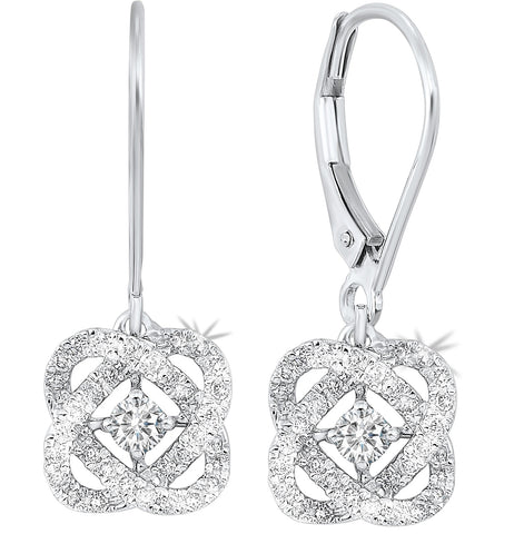 Ladies 14K White Gold Diamond Earrings LOVE'S CROSSING Collection