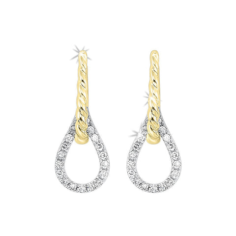 14k Two Tone Diamond Earrings  1/10ctw LOVE'S CROSSING Collection