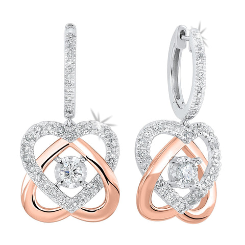 14k Two Tone Diamond Earrings LOVE'S CROSSING 3/4ctw